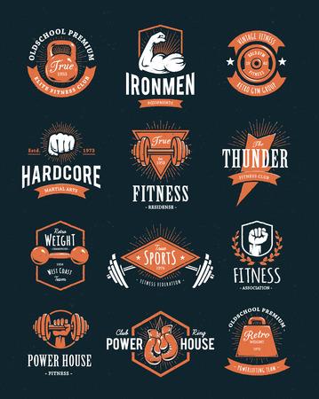 Ilustración de Set of retro styled fitness emblems. Vintage gym logo templates. Vector illustrations. - Imagen libre de derechos