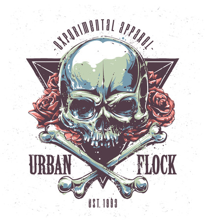 Illustration pour Grunge print with skull, bones, roses and typography. Vector art. - image libre de droit