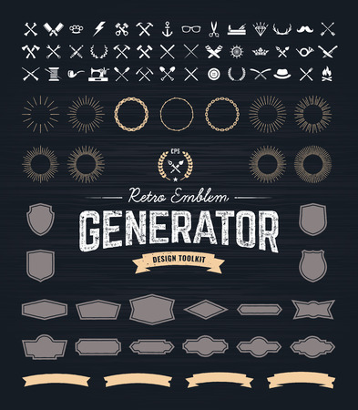Ilustración de Retro Emblem Generator is set of icons, badges, beams, ribbons and other useful design elements for retro emblem. Vector art. - Imagen libre de derechos