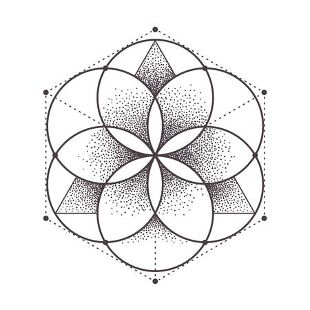 Ilustración de Abstract sacred geometry. Geometric symmetric pattern isolated on white. Dotwork style vector illustration. - Imagen libre de derechos