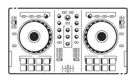 Illustration pour DJ Usb Controller. Vector art of midi turntable. Line art. - image libre de droit