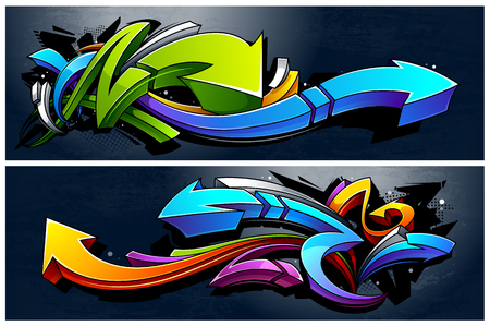 Photo pour Two horizontal banners with abstract graffiti arrows. Vibrant colors 3D graffiti arrows on dark grunge background. - image libre de droit
