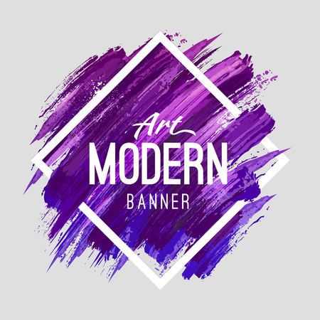 Illustration pour Modern art abstract banner. Vector square frame for text with blue and purple paintbrush lines. - image libre de droit