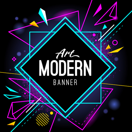 Illustration for Modern style abstract banner with bright neon lines and frame for headline. Vector background. - Royalty Free Image