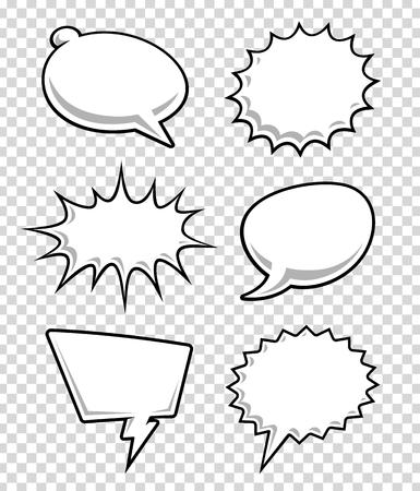 Illustration pour Comic speech bubbles on transparency background. Cartoon clouds for text. Vector illustration. - image libre de droit