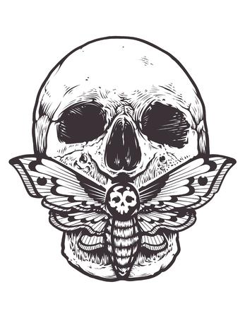 Ilustración de Skull with a moth on mouth. - Imagen libre de derechos
