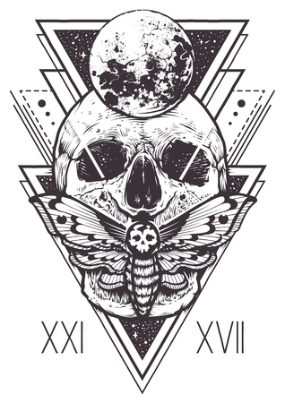 Illustration pour Vector boho design of skull with hawk moth and sacred geometric elements, hipster triangles, mystical symbols. - image libre de droit