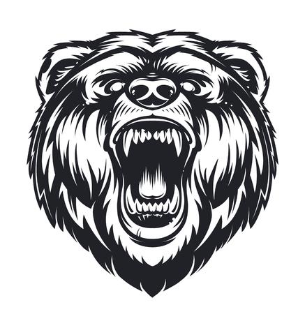 Ilustración de Vector Roaring Bear isolated on white background. Furious bear head. Bear silhouette. Tattoo art style. - Imagen libre de derechos