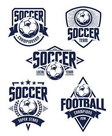 Ilustración de Vector Football Emblems set. Retro styled soccer badges isolated on white background. Soccer team icon templates. - Imagen libre de derechos