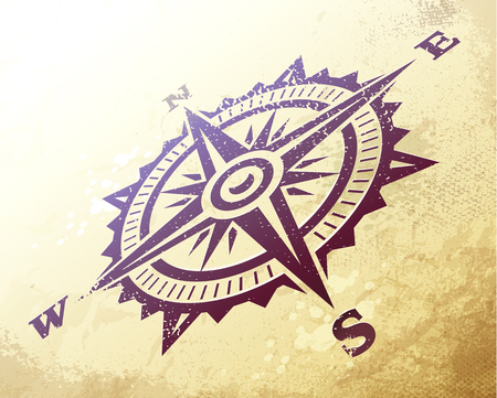 Ilustración de Compass wind rose in perspective on ancient map. Vintage art of wind rose on dirty textured paper. Vector illustration. - Imagen libre de derechos
