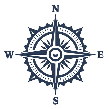 Illustration pour Compass wind rose icon isolated on white. Vector illustration. - image libre de droit