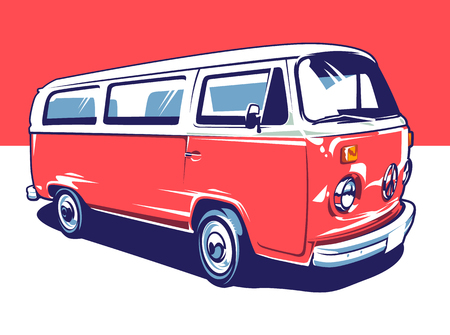 Illustration pour Red hippie vintage van illustration. Vector pop art illustration. - image libre de droit