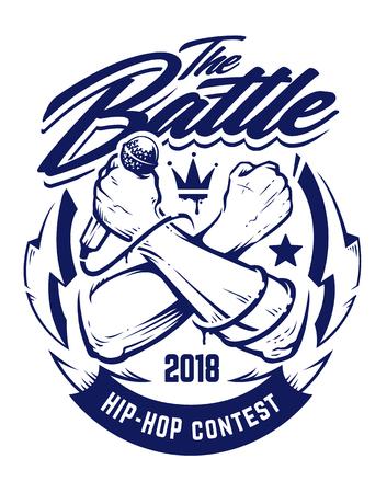 Illustration pour Hip-hop monochrome emblem with crossed brutal hands keeping microphone. Rap battle emblem template with hip-hop and graffiti elements. Vector art. - image libre de droit