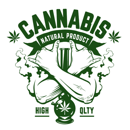 Illustration pour Cannabis Vector Emblem. Green monochrome emblem with crossed hands, bong and smoke isolated on white. Rastaman symbols. Vector art. - image libre de droit