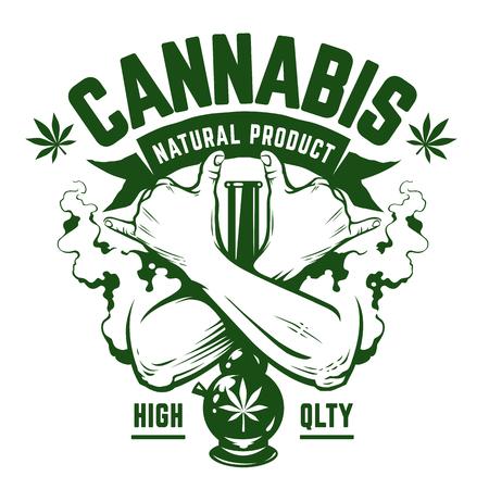 Ilustración de Cannabis Vector Emblem. Green monochrome emblem with crossed hands, bong and smoke isolated on white. Rastaman symbols. Vector art. - Imagen libre de derechos