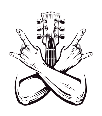 Illustration pour Crossed hands sign rock n roll gesture isolated with guitar neck on white. Punk rock hands sign. Vector illustration. - image libre de droit