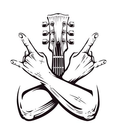 Ilustración de Crossed hands sign rock n roll gesture isolated with guitar neck on white. Punk rock hands sign. Vector illustration. - Imagen libre de derechos
