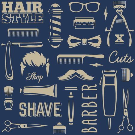 Ilustración de Barber Tools Seamless Texture. White barber tools on black background retro style vector art. - Imagen libre de derechos