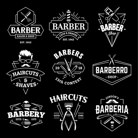 Ilustración de Barber Shop Retro Emblems in art deco style. Set of stylish barber logo templates. White monochrome vector art isolated on black. - Imagen libre de derechos