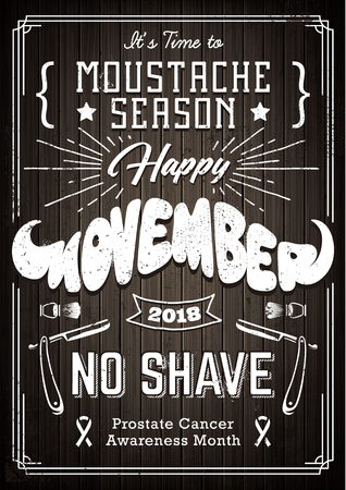 Illustration pour Movember Poster Vintage Design with different fonts and moustache shape lettering. Monochrome design with shaving attributes on wooded background. - image libre de droit