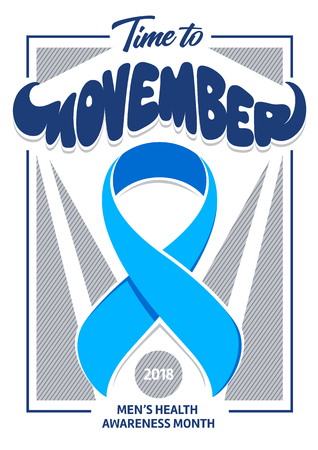 Illustration pour Movember poster design with mustache shape typography and blue ribbon. Cancer awareness event poster design. - image libre de droit