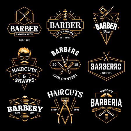 Ilustración de Barber Shop Retro Emblems in art deco style. Set of stylish barber logo templates. Gold color vector art isolated on black. - Imagen libre de derechos