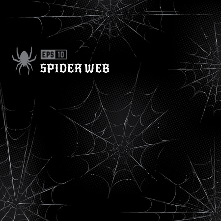 Illustration for Vector set of spider webs on black halftone background. Hand-drawn spider webs. Vector arts. - Royalty Free Image