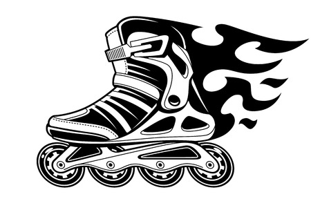 Ilustración de Burning roller skate in motion isolated on white. Black and white vector illustration. - Imagen libre de derechos