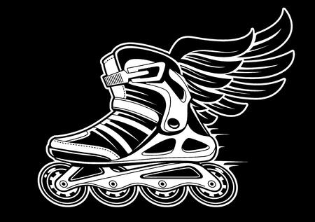 Ilustración de Inline roller skate with wing isolated on black. Black and white vector illustration. - Imagen libre de derechos