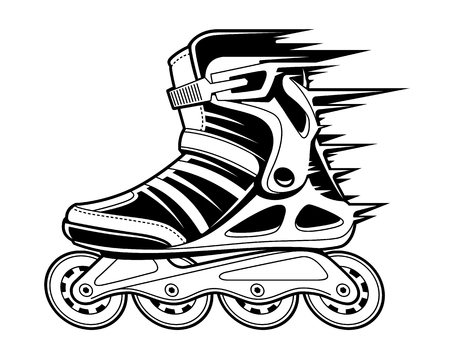Ilustración de Inline roller skate with motion effect isolated on white. Black and white vector illustration. - Imagen libre de derechos