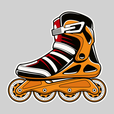 Ilustración de Inline roller skate extreme colors art on grey. Vector illustration. - Imagen libre de derechos