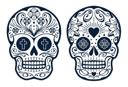 Ilustración de Vector Mexican Skulls with Patterns. Old school tattoo style sugar skulls. Black and white illustration. - Imagen libre de derechos