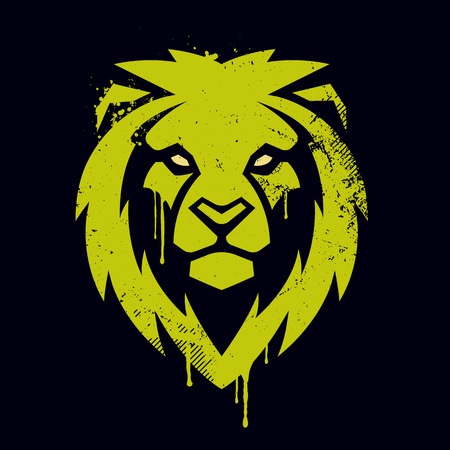 Illustration pour Lion head graffiti art. Lion head icon. Lion vector logo template. - image libre de droit