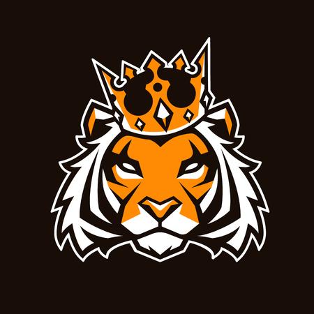 Ilustración de Tiger in crown looking danger. Tiger head icon. Tiger vector logo template. - Imagen libre de derechos