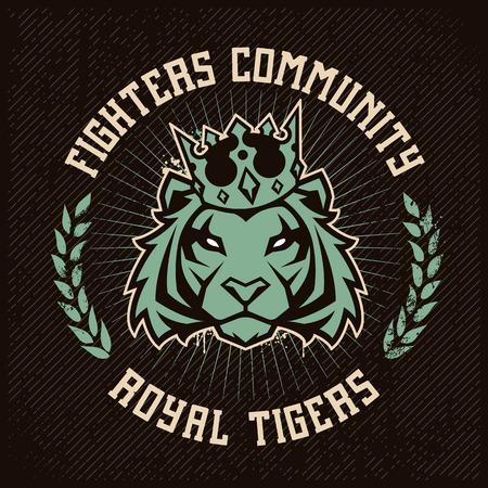 Ilustración de Emblem design template with tiger in crown looking danger on grunge backdrop. Classic style. Vector print. - Imagen libre de derechos