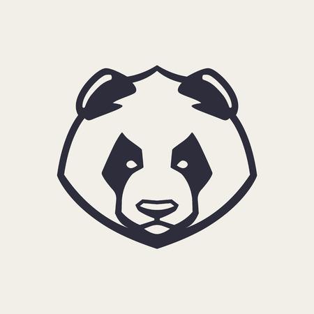 Illustration pour Panda mascot vector art. Frontal symmetric image of panda bear looking dangerous. Vector monochrome icon. - image libre de droit