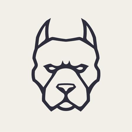 Ilustración de Pitbull mascot vector art. Frontal symmetric image of pitbull looking dangerous. Vector monochrome icon. - Imagen libre de derechos