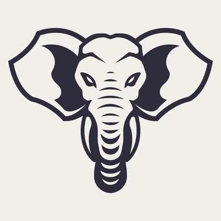 Illustration pour Elephant mascot vector art. Frontal symmetric image of elephant looking dangerous. Vector monochrome icon. - image libre de droit