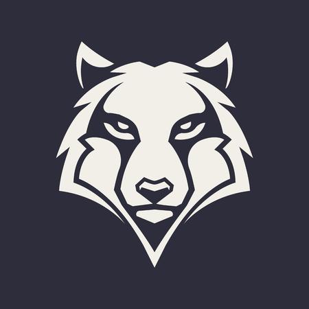 Ilustración de Wolf mascot vector art. Frontal symmetric image of wolf looking dangerous. Vector monochrome icon. - Imagen libre de derechos