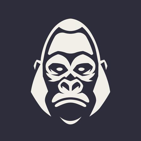 Ilustración de Gorilla mascot vector art. Frontal symmetric image of gorilla looking dangerous. Vector monochrome icon. - Imagen libre de derechos