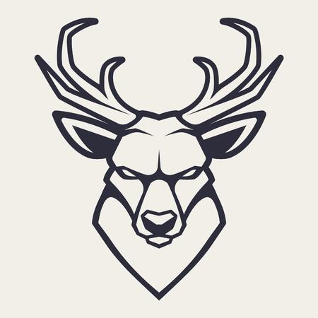 Ilustración de Deer mascot vector art. Frontal symmetric image of deer looking dangerous. Vector monochrome icon. - Imagen libre de derechos