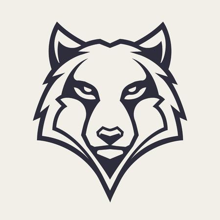 Illustration pour Wolf mascot vector art. Frontal symmetric image of wolf looking dangerous. Vector monochrome icon. - image libre de droit