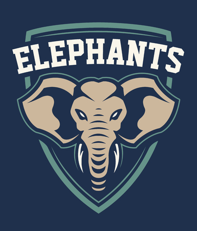 Illustration for Elephant Mascot Sport Emblem Design. Sport team logo template with elephant looking dangerous. Vector illustration. - Royalty Free Image