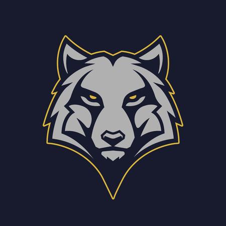 Ilustración de Wolf mascot vector art. Frontal symmetric image of wolf looking dangerous. Vector icon. - Imagen libre de derechos
