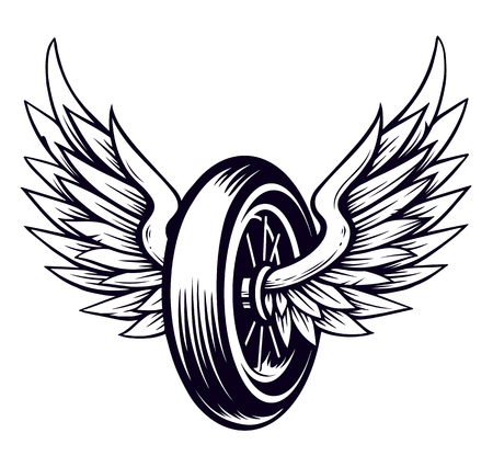 Illustration pour Vector Motorcycle Wheel with Wings isolated on white. Monochrome tattoo style symbol for bikers. - image libre de droit