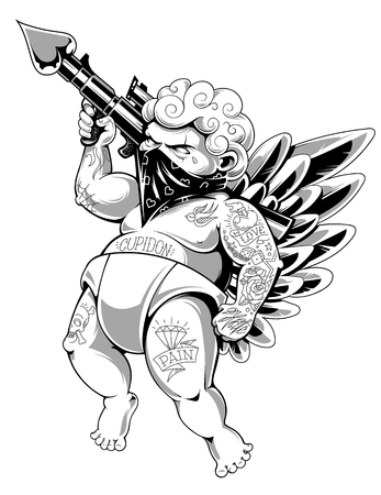Illustration for Tattooed cupid in bandana with gun loaded of love. Fat tattooed aggressive love warrior. Modern vector illustration. Monochrome version. - Royalty Free Image