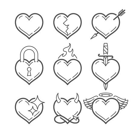 Illustration pour Set of line art vector hearts with different elements isolated on white. Heart shape line art icons. - image libre de droit
