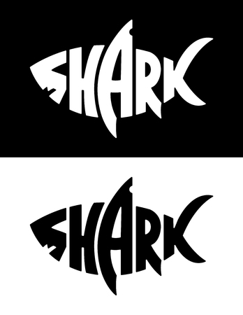 Ilustración de Shark lettering in shark silhouette. Lettering with shark shape. Black and white vector shark logo. Negative and positive versions. - Imagen libre de derechos