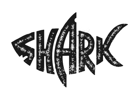 Illustration pour Shark lettering in shark silhouette. Grunge lettering with shark shape. Black and white distressed vector shark logo. - image libre de droit