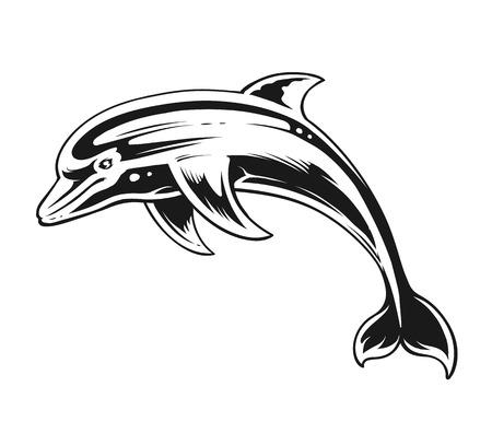 Ilustración de Dolphin in motion. Black and White Contrast Vector Art. - Imagen libre de derechos
